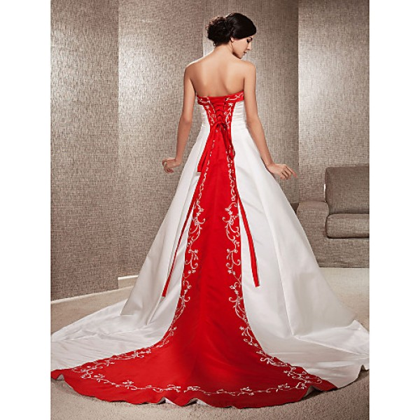 A-line / Princess Petite / Plus Sizes Wedding Dress - Ivory Chapel Train Strapless Satin Wedding Dresses
