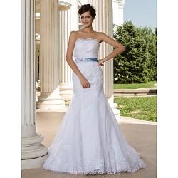Trumpet Mermaid Plus Sizes Wedding Dress White Court Train Strapless Lace