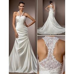 Trumpet/Mermaid Plus Sizes Wedding Dress - Ivory Chapel Train Halter Satin