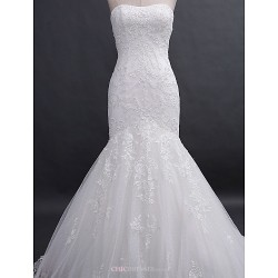 Fit & Flare Wedding Dress Ivory Court Train Strapless Lace