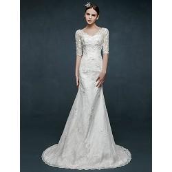 Trumpet Mermaid Wedding Dress Ivory Sweep Brush Train V Neck Lace