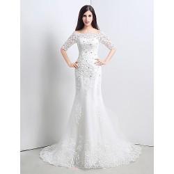 Trumpet/Mermaid Wedding Dress - White Court Train Bateau Lace/Satin