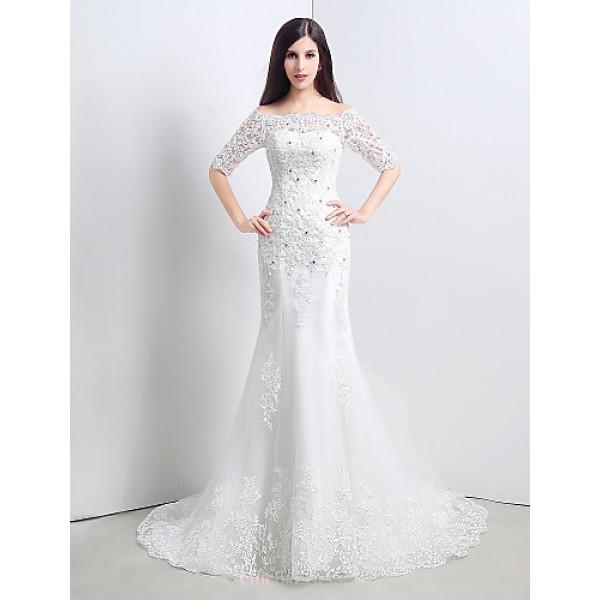 Trumpet/Mermaid Wedding Dress - White Court Train Bateau Lace/Satin Wedding Dresses