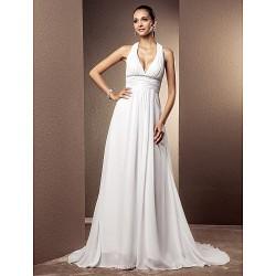 Sheath Column Plus Sizes Wedding Dress White Court Train V Neck Chiffon