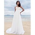 A-line Petite / Plus Sizes Wedding Dress - Ivory Court Train Sweetheart Chiffon Wedding Dresses