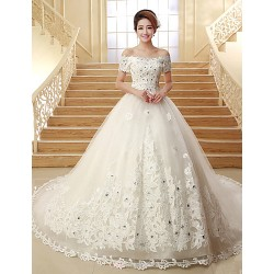 Ball Gown Chapel Train Wedding Dress Off The Shoulder Tulle