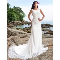 Sheath/Column Plus Sizes Wedding Dress - Ivory Chapel Train Straps Chiffon