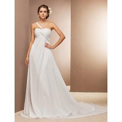 A Line Princess Plus Sizes Wedding Dress Ivory Court Train One Shoulder Chiffon