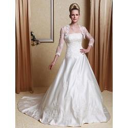 A Line Princess Plus Sizes Wedding Dress Ivory Court Train Scalloped Edge Satin