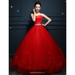 Ball Gown Wedding Dress Ruby White Floor Length Sweetheart Tulle