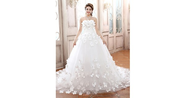 Cheap Fancy A Line Strapless Chapel Train Organza Simple: Ball Gown Chapel Train Wedding Dress -Strapless Tulle