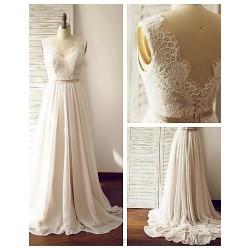 A Line Wedding Dress Champagne Court Train V Neck Chiffon Lace