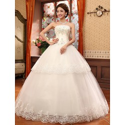 Ball Gown Strapless Lace Floor Length Wedding Dress