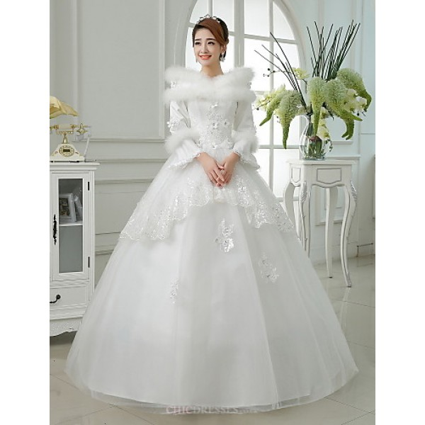 Ball Gown Wedding Dresses Uk: Ball Gown Floor-length Wedding Dress -Jewel Satin,Cheap Uk