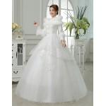 Ball Gown Floor-length Wedding Dress -Jewel Satin Wedding Dresses