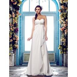A-line Plus Sizes Wedding Dress - Ivory Sweep/Brush Train Sweetheart Chiffon
