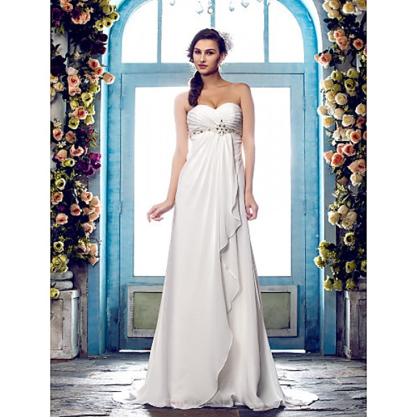 A-line Plus Sizes Wedding Dress - Ivory Sweep/Brush Train Sweetheart Chiffon Wedding Dresses