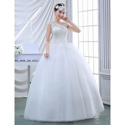 Ball Gown Wedding Dress White Floor Length Jewel Lace