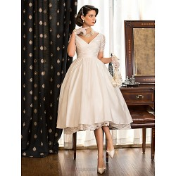 A line Princess Petite Plus Sizes Wedding Dress Ivory Tea length V neck Taffeta