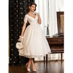 A-line / Princess Petite / Plus Sizes Wedding Dress - Ivory Tea-length V-neck Taffeta Wedding Dresses