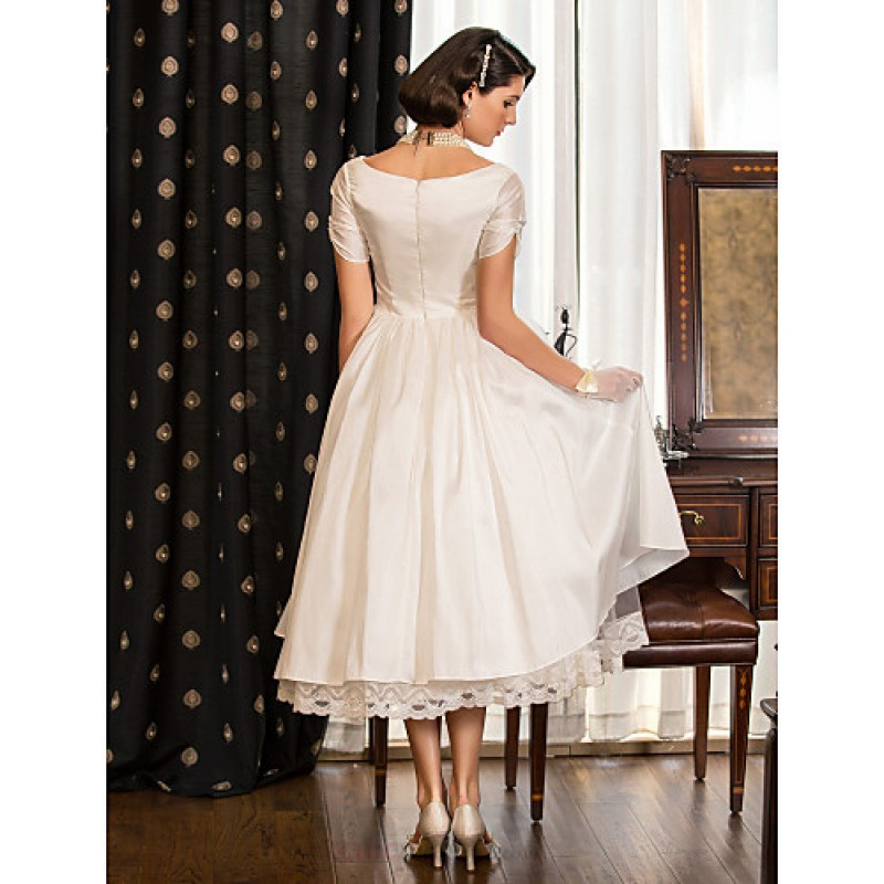 Champagne Tea Length Wedding Dress
