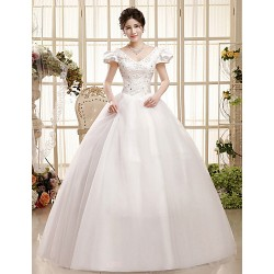 Ball Gown Floor-length Wedding Dress -V-neck Organza