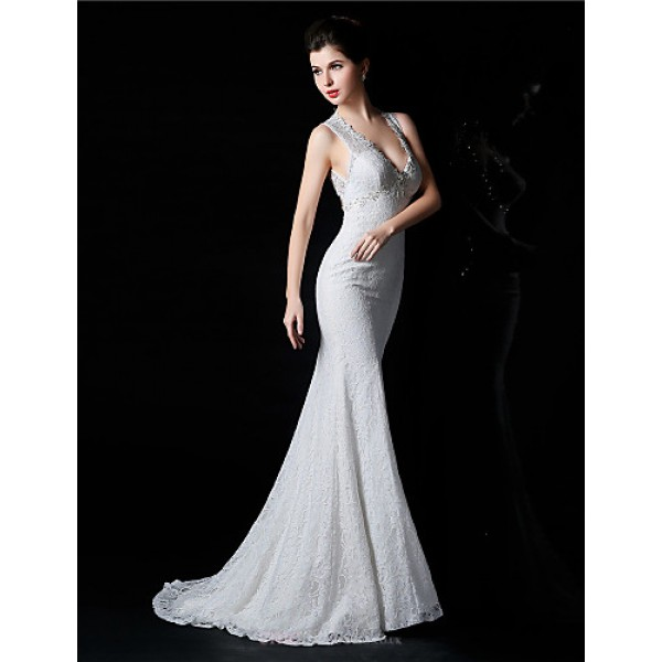 Trumpet/Mermaid Bride Wedding Dress - White Court Train V-neck Lace / Satin / Tulle Wedding Dresses