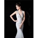 Trumpet/Mermaid Bride Wedding Dress - White Court Train V-neck Lace / Satin / Tulle Wedding Dresses