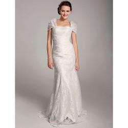 Trumpet/Mermaid Plus Sizes Wedding Dress - Ivory Floor-length Straps Lace