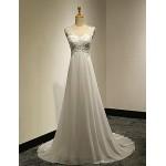 A-line Petite / Plus Sizes Wedding Dress - White Sweep/Brush Train V-neck Chiffon / Lace Wedding Dresses