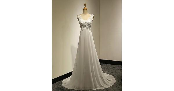Cheap Fancy A Line V Neck Sweep Train Lace Simple Wedding: A-line Petite / Plus Sizes Wedding Dress