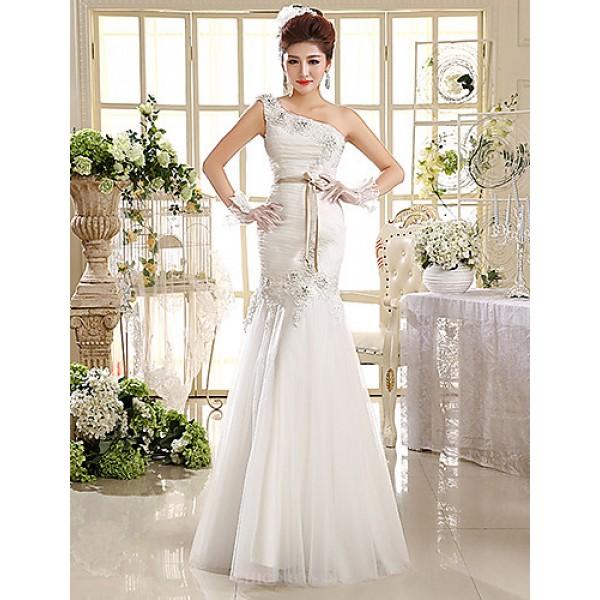 Ball Gown/Trumpet/Mermaid Wedding Dress Floor-length One Shoulder Lace Wedding Dresses