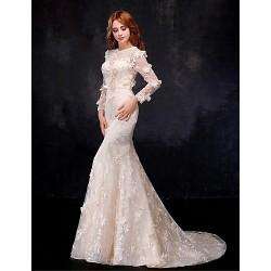 Trumpet Mermaid Wedding Dress Champagne Floor Length Jewel Organza