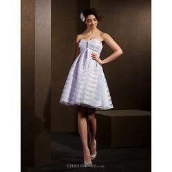 A Line Princess Wedding Dress White Knee Length Sweetheart Organza