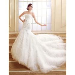 Trumpet/Mermaid Court Train Wedding Dress -Sweetheart Tulle