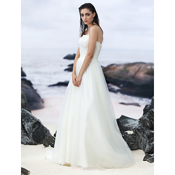A Line Sweep Brush Train Wedding Dress Strapless Lace Tulle