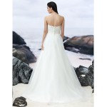 A-line Sweep/Brush Train Wedding Dress - Strapless Lace/Tulle Wedding Dresses