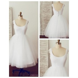 A Line Wedding Dress White Knee Length Scoop Cotton Tulle