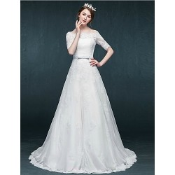 A Line Wedding Dress White Court Train Bateau Tulle