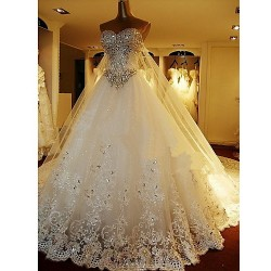 A Line Petite Wedding Dress White Cathedral Train Sweetheart Tulle