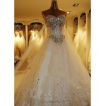 A-line Petite Wedding Dress - White Cathedral Train Sweetheart Tulle Wedding Dresses