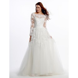 A-line Wedding Dress - Ivory Court Train Scoop Lace / Tulle