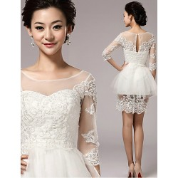 Sheath/Column Short/Mini Wedding Dress - Scoop Tulle