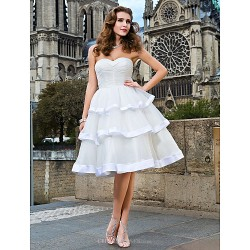 Ball Gown Plus Sizes Wedding Dress - Ivory Knee-length Sweetheart Organza