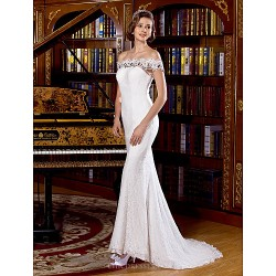 Trumpet Mermaid Wedding Dress Sweep Brush Train Off The Shoulder Lace