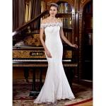 Trumpet/Mermaid Wedding Dress Sweep/Brush Train Off-the-shoulder Lace Wedding Dresses