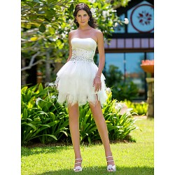 Ball Gown Plus Sizes Wedding Dress - Ivory Short/Mini Strapless Satin/Tulle