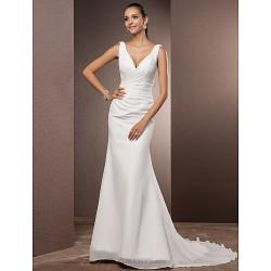 Trumpet Mermaid Petite Plus Sizes Wedding Dress Ivory Court Train V Neck Chiffon