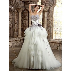 A-line Wedding Dress - White/Ivory Chapel Train Strapless/Sweetheart Satin