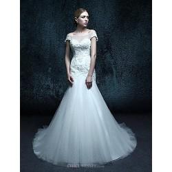 Trumpet Mermaid Chapel Train Wedding Dress Scoop Organza